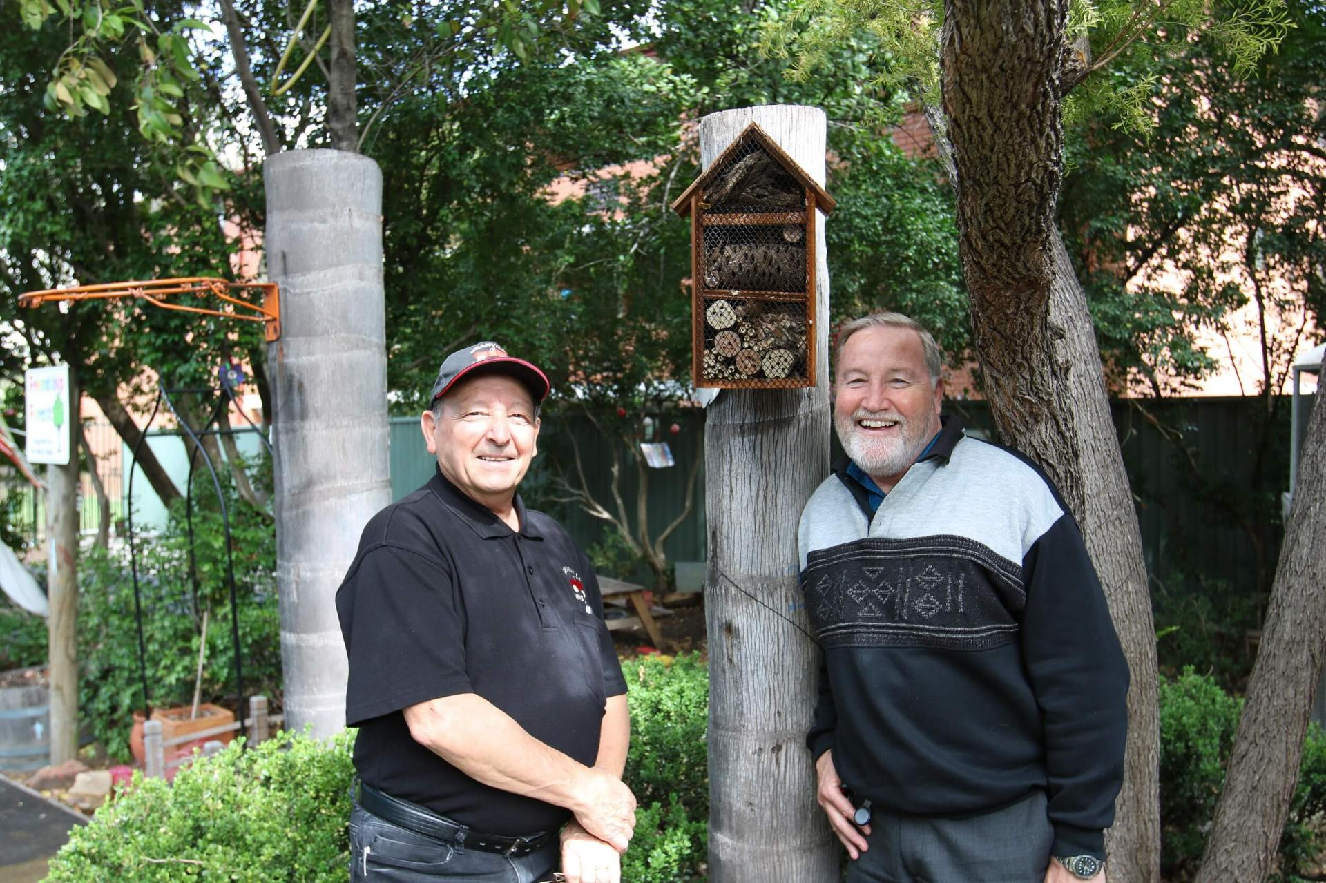 Sam Zammit, Granville Men's Shed Volunteer and bird house builder/ architect with Mayor Greg Cummings