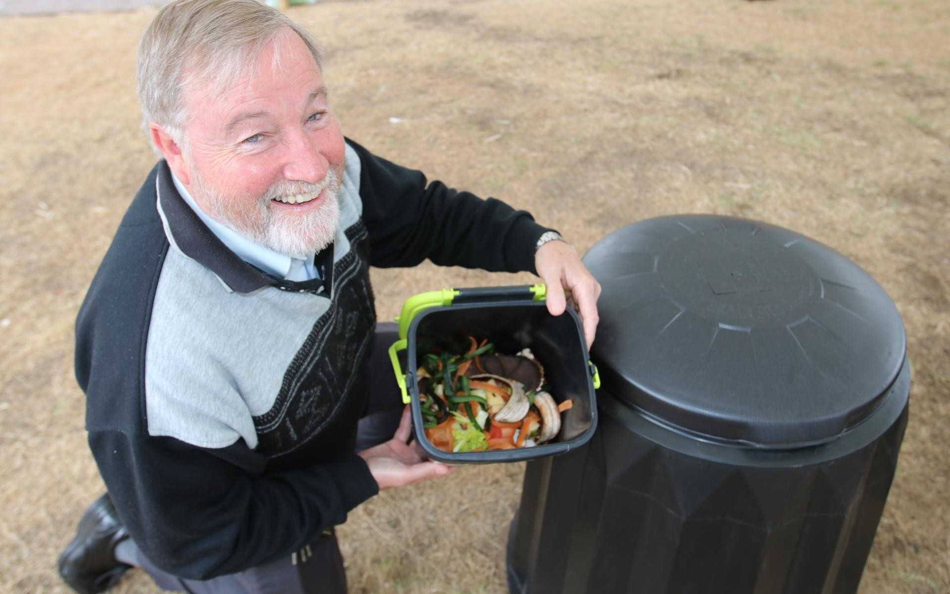 mayor with compost