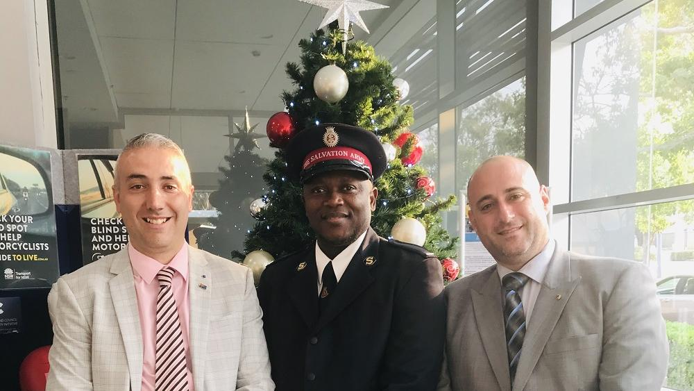 Mayor Steve Christou and Deputy Mayor, Eddy Sarkis with a Salvation Army Officer