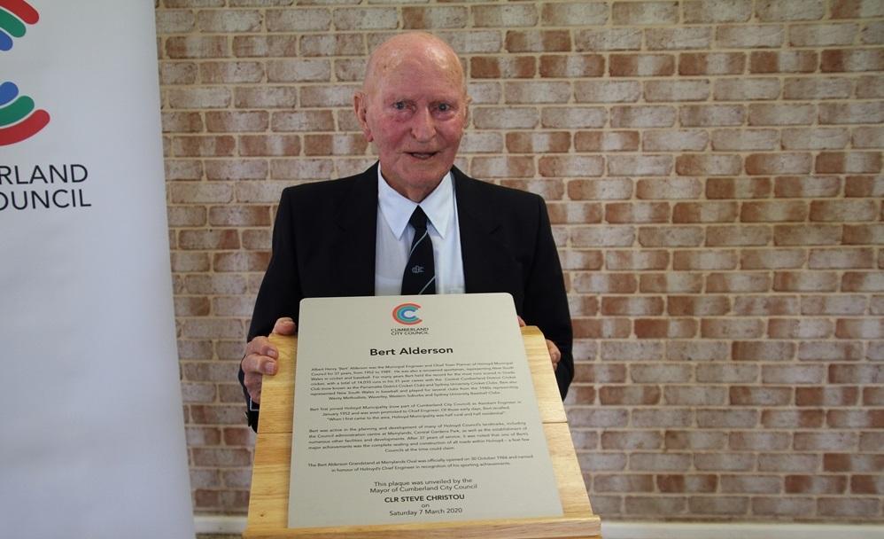 Mr Alderson at a recent plaque unveiling